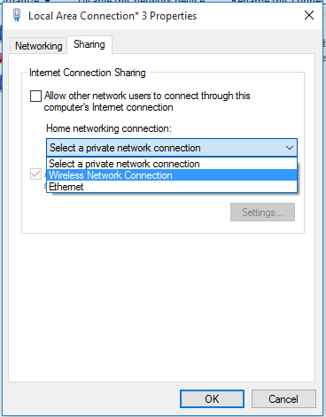 Set up sharing properties for ad hoc connection